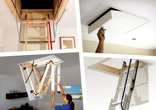 various types of loft ladder and hatch